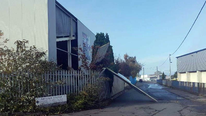 Phasor's Emergency Response Team Repair Damaged TC Matthews Showroom caused by Storm Ophelia